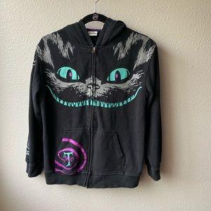 Disney Cheshire Cat hoodie zip up sz L Alice black